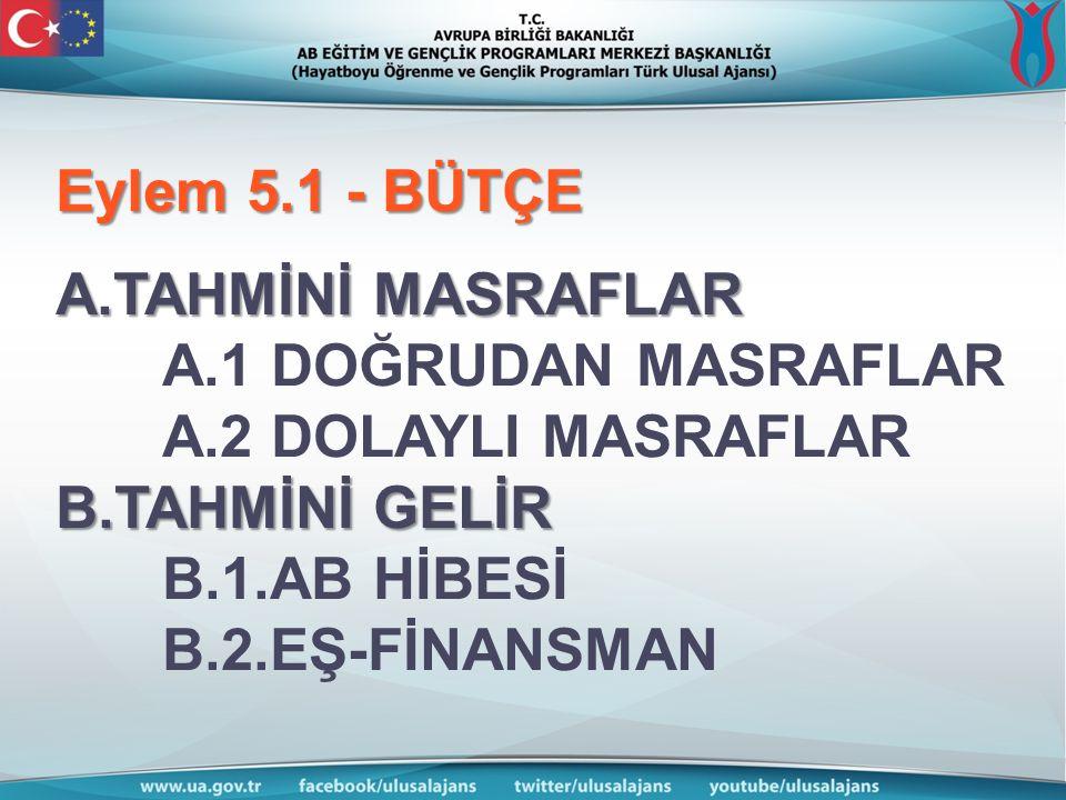 Eylem 5.1 - BÜTÇE A.TAHMİNİ MASRAFLAR B.TAHMİNİ GELİR Eylem 5.1 - BÜTÇE A.TAHMİNİ MASRAFLAR A.1 DOĞRUDAN MASRAFLAR A.2 DOLAYLI MASRAFLAR B.TAHMİNİ GELİR B.1.AB HİBESİ B.2.EŞ-FİNANSMAN