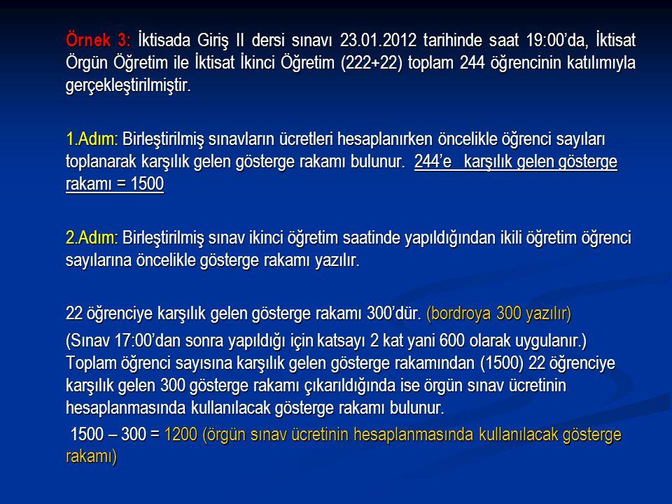 Örnek 3: İktisada Giriş II dersi sınavı 23.01.2012 tarihinde saat 19:00'da, İktisat Örgün Öğretim ile İktisat İkinci Öğretim (222+22) toplam 244 öğren