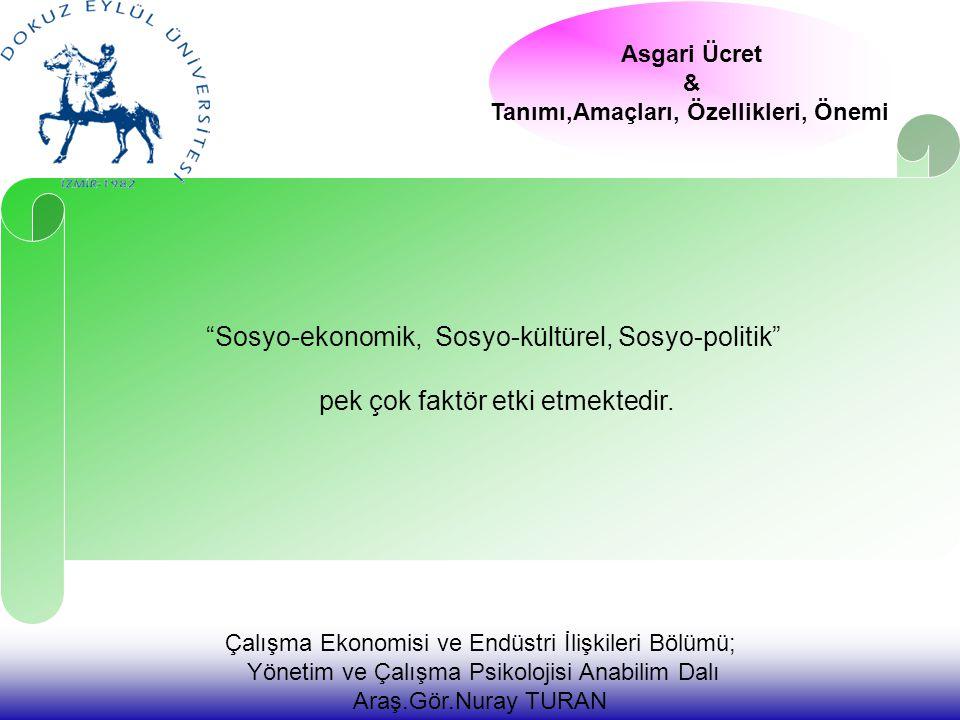 Çalışma Ekonomisi ve Endüstri İlişkileri Bölümü; Yönetim ve Çalışma Psikolojisi Anabilim Dalı Araş.Gör.Nuray TURAN Sosyo-ekonomik, Sosyo-kültürel, Sosyo-politik pek çok faktör etki etmektedir.