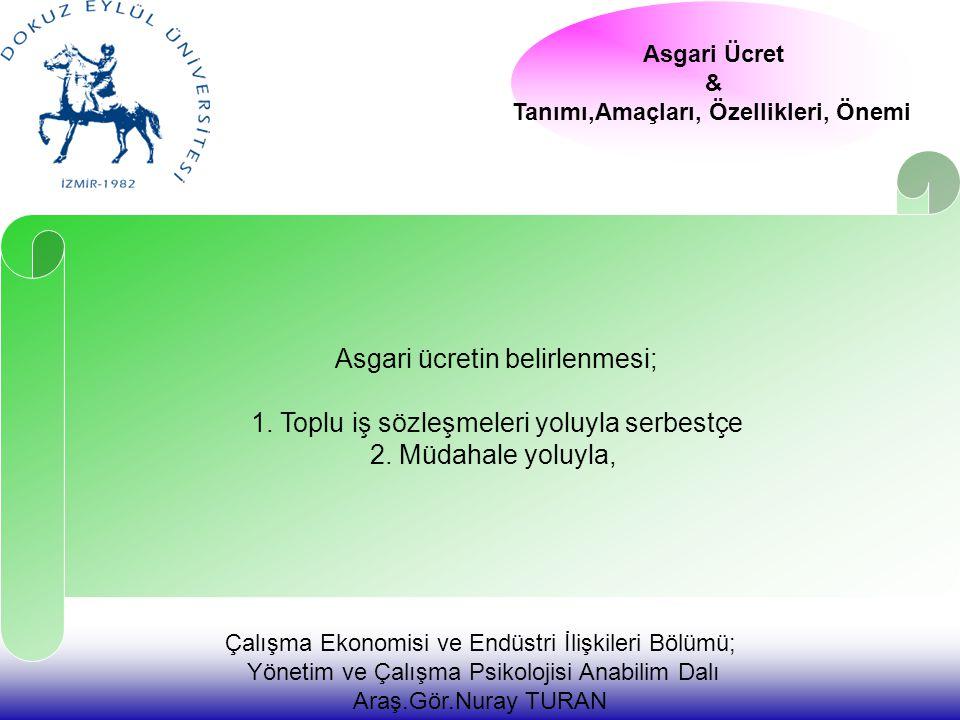 Çalışma Ekonomisi ve Endüstri İlişkileri Bölümü; Yönetim ve Çalışma Psikolojisi Anabilim Dalı Araş.Gör.Nuray TURAN Asgari Ücret & Tanımı,Amaçları, Özellikleri, Önemi Asgari ücretin belirlenmesi; 1.