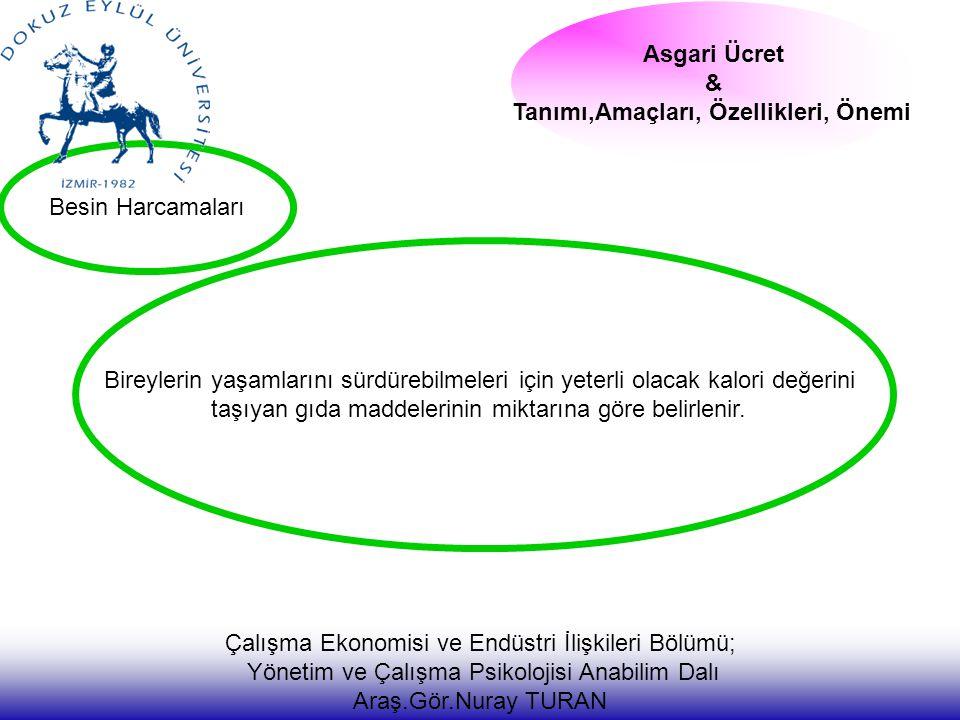 Besin Harcamaları Asgari Ücret & Tanımı,Amaçları, Özellikleri, Önemi Çalışma Ekonomisi ve Endüstri İlişkileri Bölümü; Yönetim ve Çalışma Psikolojisi A