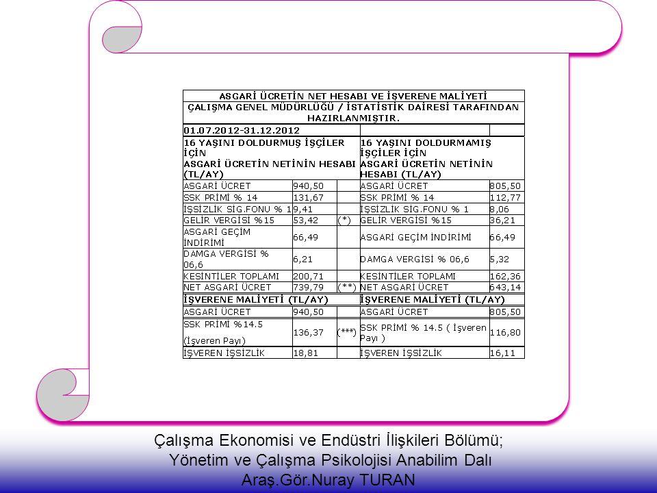 Çalışma Ekonomisi ve Endüstri İlişkileri Bölümü; Yönetim ve Çalışma Psikolojisi Anabilim Dalı Araş.Gör.Nuray TURAN