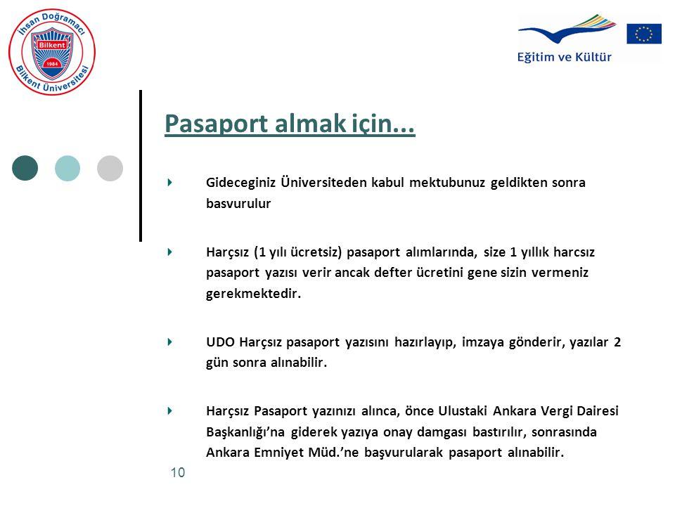 10 Pasaport almak için... Gideceginiz Üniversiteden kabul mektubunuz geldikten sonra basvurulur Harçsız (1 yılı ücretsiz) pasaport alımlarında, size 1