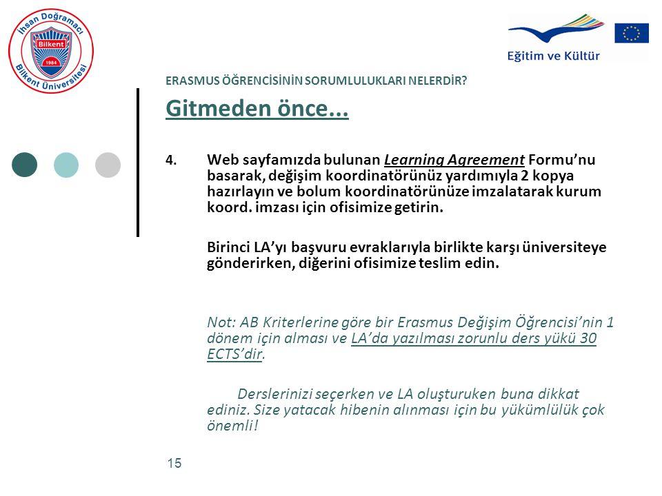 15 ERASMUS ÖĞRENCİSİNİN SORUMLULUKLARI NELERDİR? Gitmeden önce... 4. Web sayfamızda bulunan Learning Agreement Formu'nu basarak, değişim koordinatörün