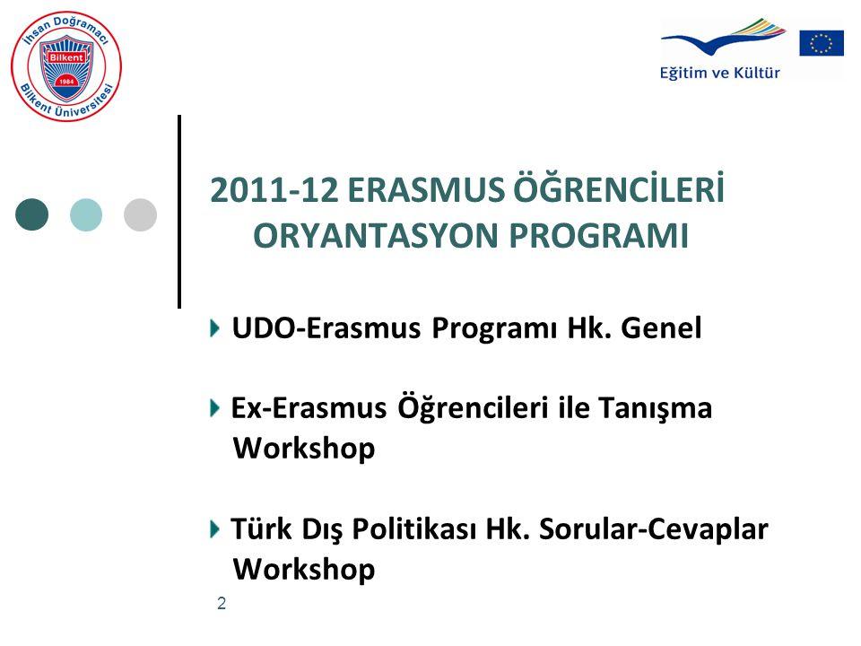 2 2011-12 ERASMUS ÖĞRENCİLERİ ORYANTASYON PROGRAMI UDO-Erasmus Programı Hk. Genel Ex-Erasmus Öğrencileri ile Tanışma Workshop Türk Dış Politikası Hk.