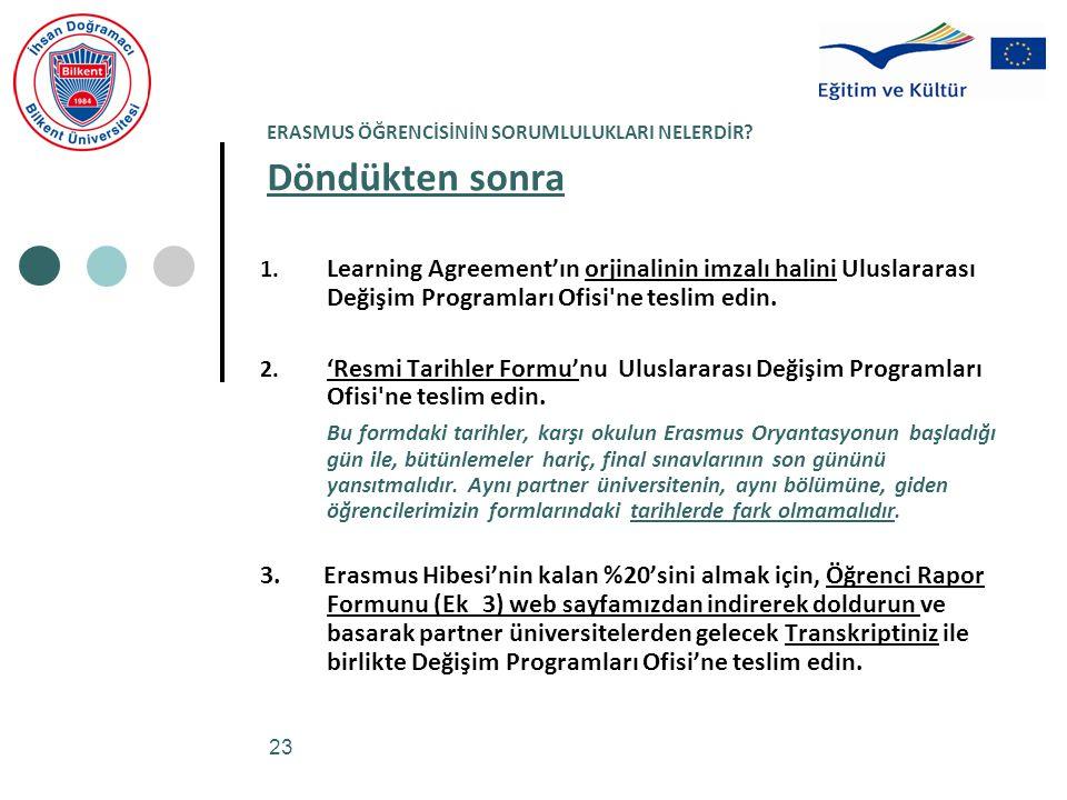 23 ERASMUS ÖĞRENCİSİNİN SORUMLULUKLARI NELERDİR? Döndükten sonra 1. Learning Agreement'ın orjinalinin imzalı halini Uluslararası Değişim Programları O