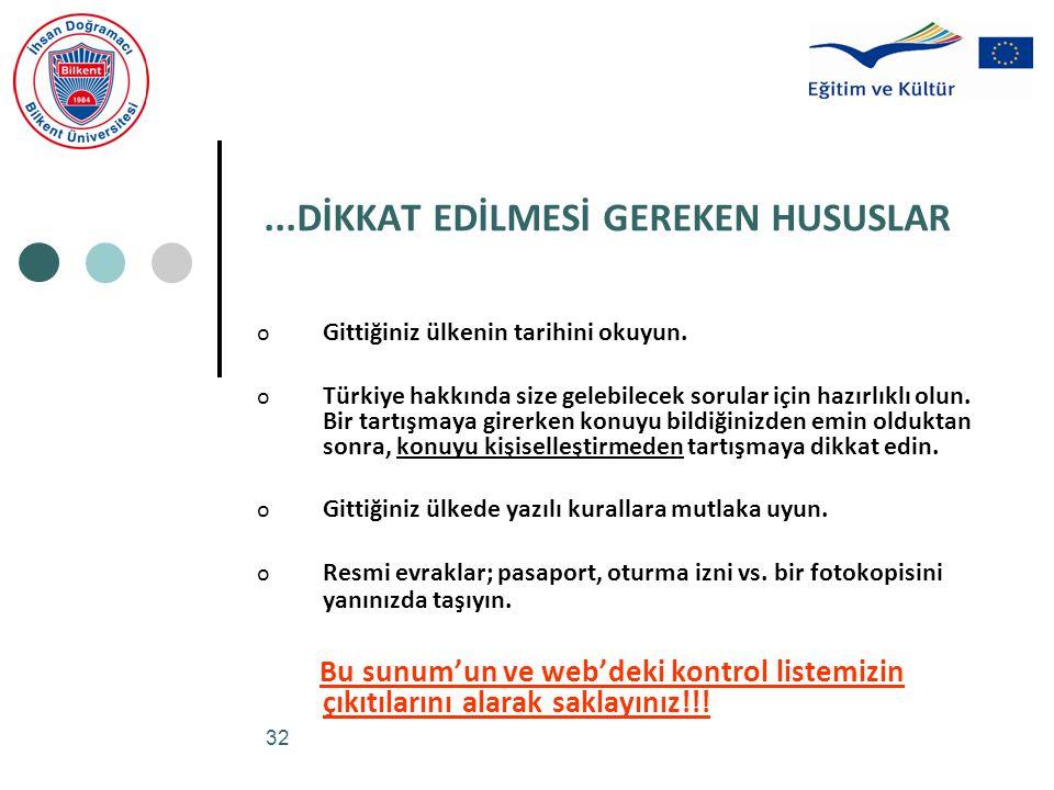 32...DİKKAT EDİLMESİ GEREKEN HUSUSLAR o Gittiğiniz ülkenin tarihini okuyun. o Türkiye hakkında size gelebilecek sorular için hazırlıklı olun. Bir tart