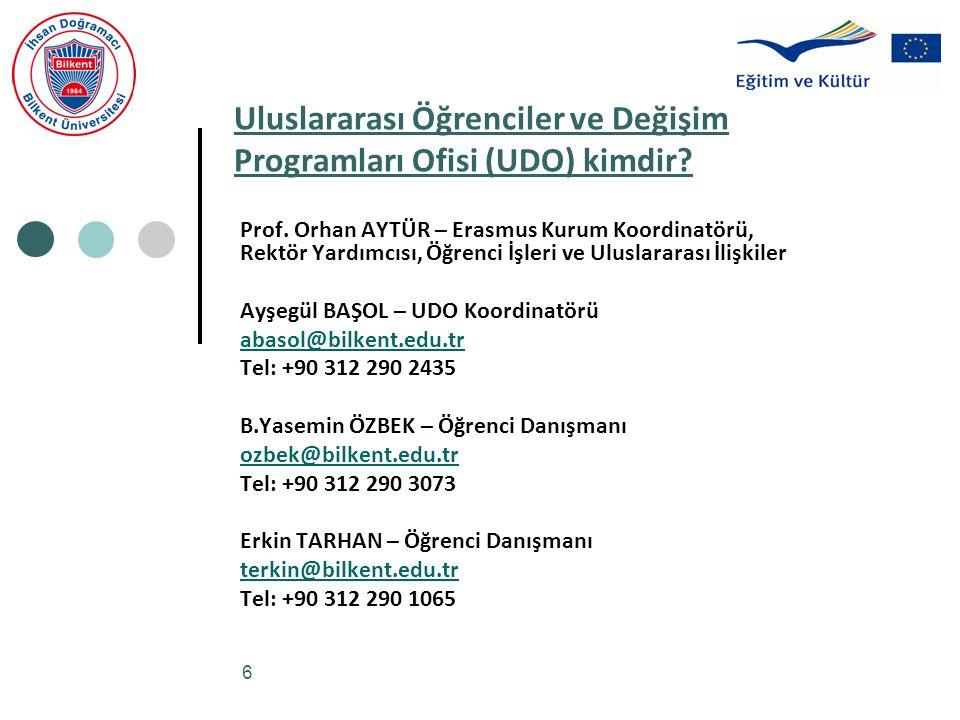 6 Uluslararası Öğrenciler ve Değişim Programları Ofisi (UDO) kimdir? Prof. Orhan AYTÜR – Erasmus Kurum Koordinatörü, Rektör Yardımcısı, Öğrenci İşleri