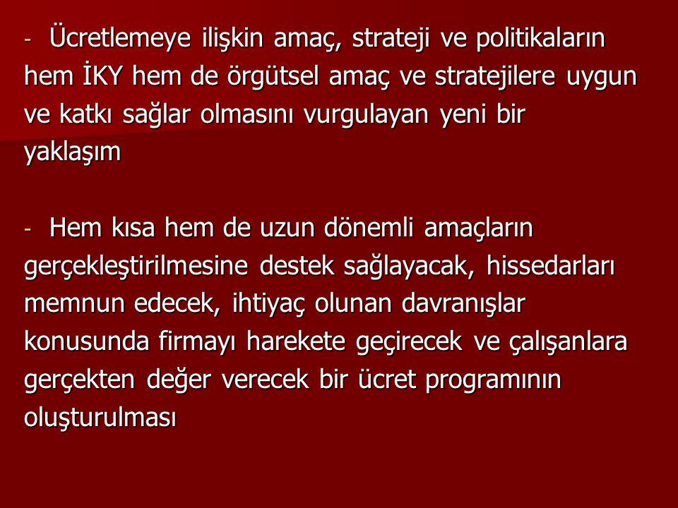 - Ücretlemeye ilişkin amaç, strateji ve politikaların hem İKY hem de örgütsel amaç ve stratejilere uygun ve katkı sağlar olmasını vurgulayan yeni bir