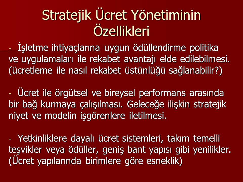 Stratejik Ücret Yönetiminin Özellikleri - İşletme ihtiyaçlarına uygun ödüllendirme politika ve uygulamaları ile rekabet avantajı elde edilebilmesi. (ü