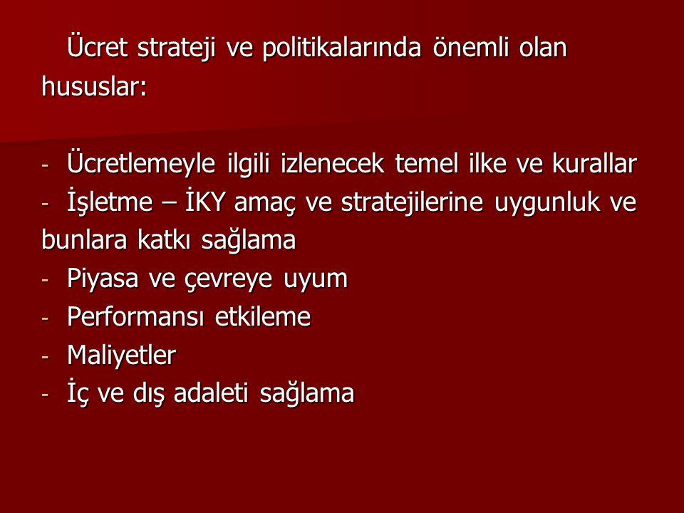 Ücret strateji ve politikalarında önemli olan hususlar: - Ücretlemeyle ilgili izlenecek temel ilke ve kurallar - İşletme – İKY amaç ve stratejilerine