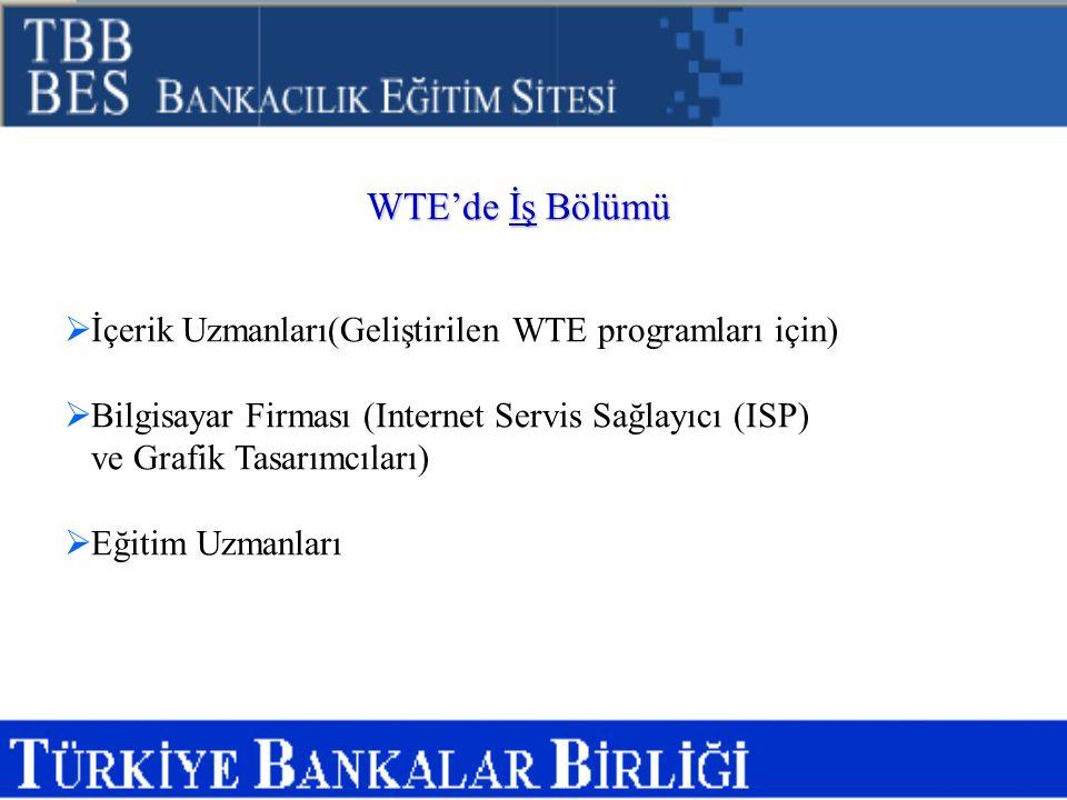 WTE'de İş Bölümü  İçerik Uzmanları(Geliştirilen WTE programları için)  Bilgisayar Firması (Internet Servis Sağlayıcı (ISP) ve Grafik Tasarımcıları)