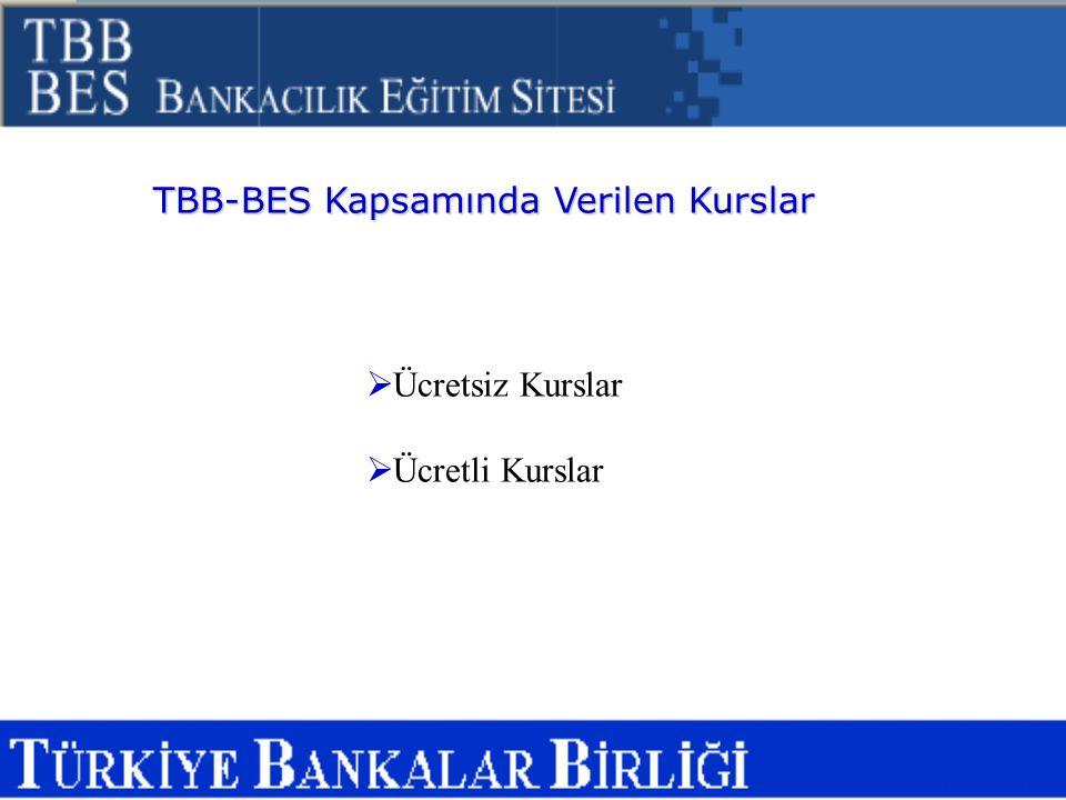 TBB-BES Kapsamında Verilen Kurslar  Ücretsiz Kurslar  Ücretli Kurslar