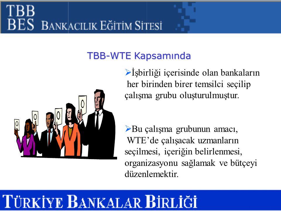 TBB-WTE Kapsamında  İşbirliği içerisinde olan bankaların her birinden birer temsilci seçilip çalışma grubu oluşturulmuştur.  Bu çalışma grubunun ama