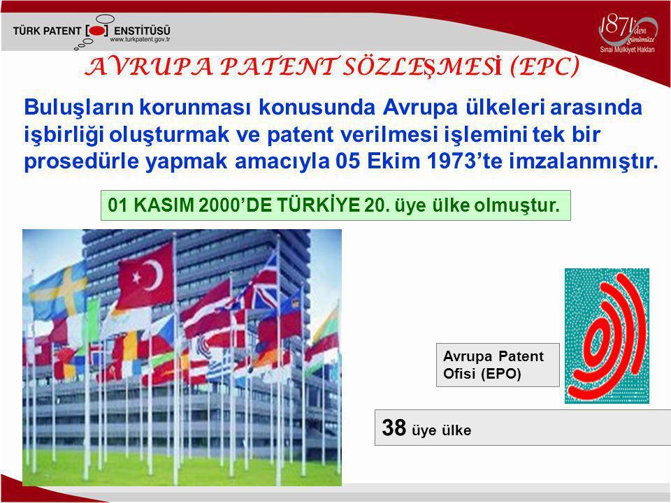 AVRUPA PATENT SÖZLE Ş MES İ (EPC) Buluşların korunması konusunda Avrupa ülkeleri arasında işbirliği oluşturmak ve patent verilmesi işlemini tek bir prosedürle yapmak amacıyla 05 Ekim 1973'te imzalanmıştır.