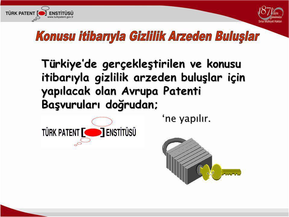 Türkiye'de gerçekleştirilen ve konusu itibarıyla gizlilik arzeden buluşlar için yapılacak olan Avrupa Patenti Başvuruları doğrudan; 'ne yapılır.