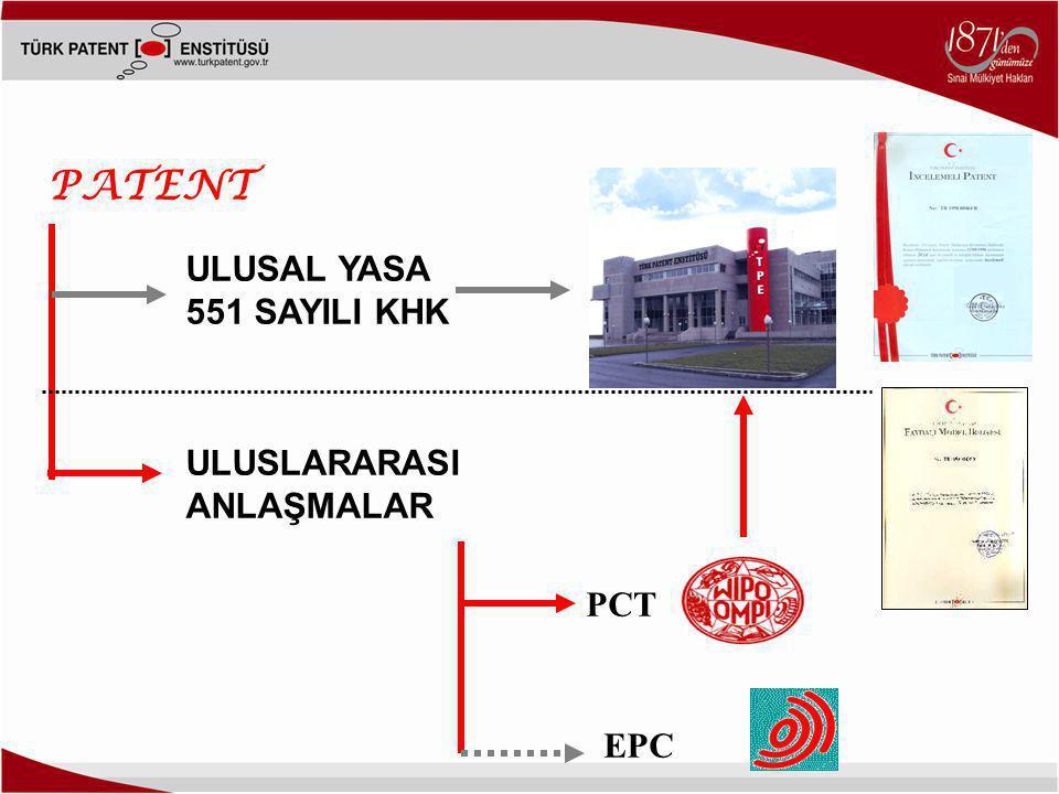 ULUSAL YASA 551 SAYILI KHK ULUSLARARASI ANLAŞMALAR PCT EPC PATENT