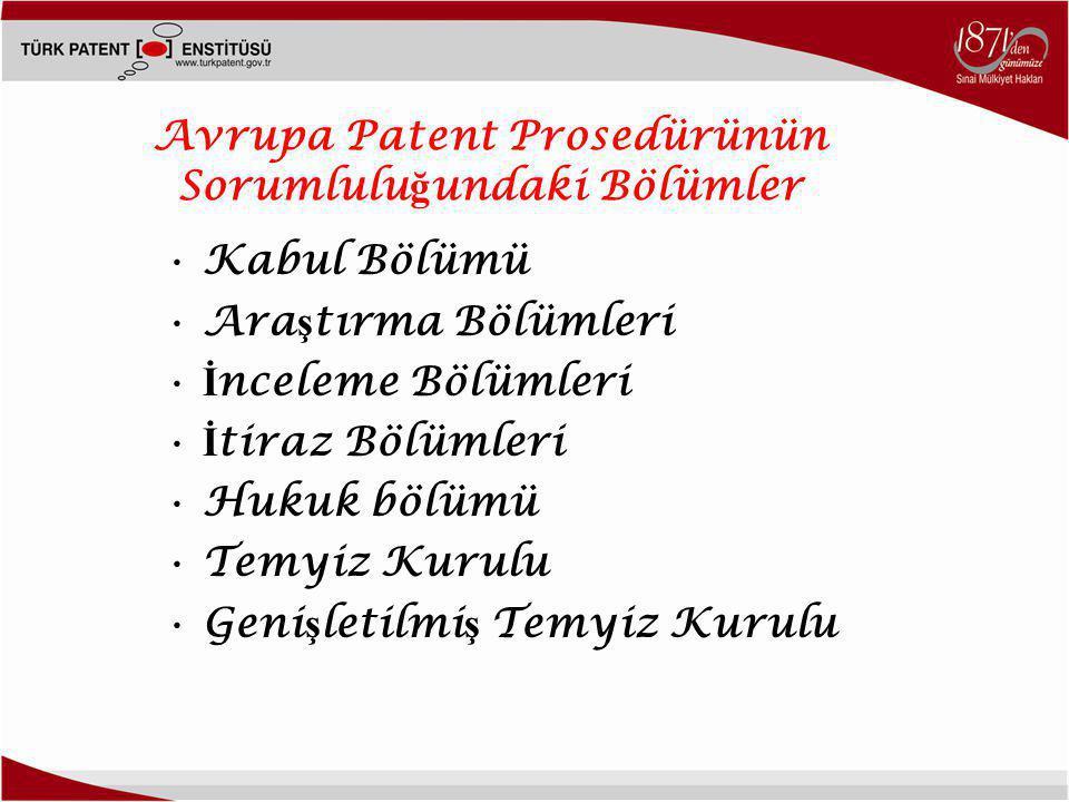 Avrupa Patent Prosedürünün Sorumlulu ğ undaki Bölümler •Kabul Bölümü •Ara ş tırma Bölümleri • İ nceleme Bölümleri • İ tiraz Bölümleri •Hukuk bölümü •Temyiz Kurulu •Geni ş letilmi ş Temyiz Kurulu