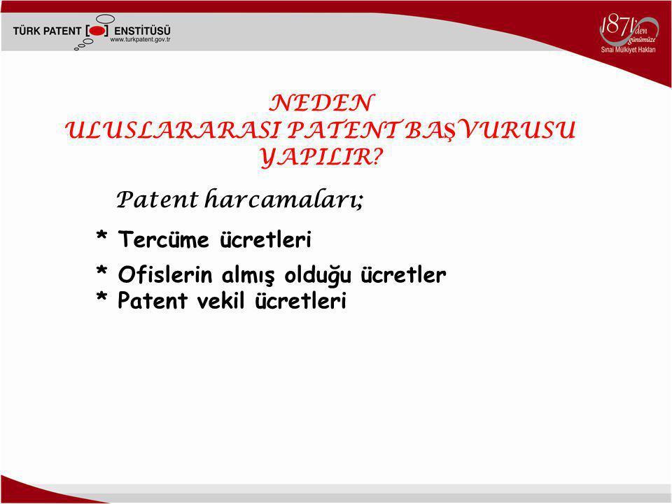NEDEN ULUSLARARASI PATENT BA Ş VURUSU YAPILIR? Patent harcamaları; * Patent vekil ücretleri * Ofislerin almış olduğu ücretler * Tercüme ücretleri