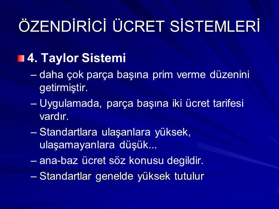 ÖZENDİRİCİ ÜCRET SİSTEMLERİ 4. Taylor Sistemi – –daha çok parça başına prim verme düzenini getirmiştir. – –Uygulamada, parça başına iki ücret tarifesi