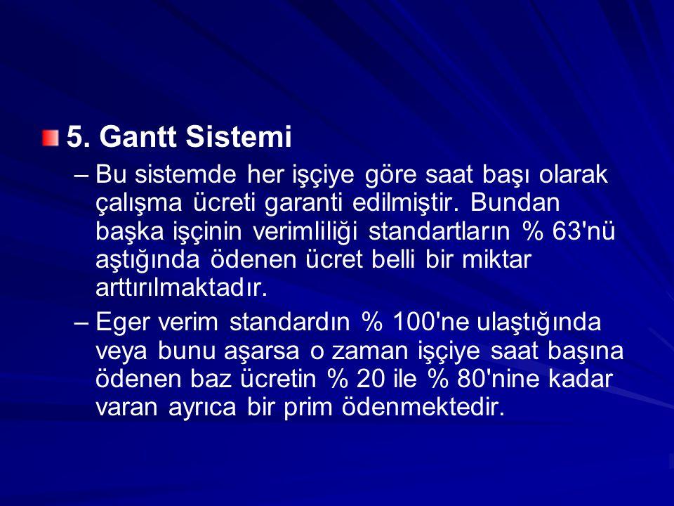 5. Gantt Sistemi – –Bu sistemde her işçiye göre saat başı olarak çalışma ücreti garanti edilmiştir. Bundan başka işçinin verimliliği standartların % 6