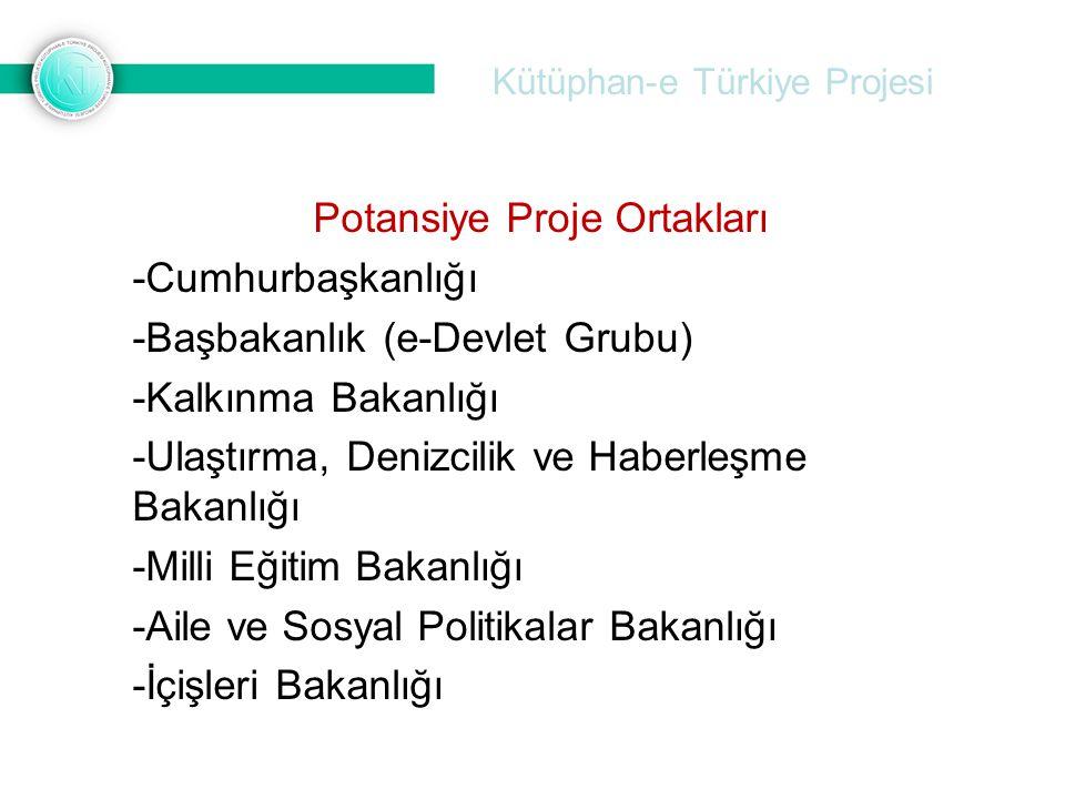 Kütüphan-e Türkiye Projesi Potansiye Proje Ortakları -Cumhurbaşkanlığı -Başbakanlık (e-Devlet Grubu) -Kalkınma Bakanlığı -Ulaştırma, Denizcilik ve Hab