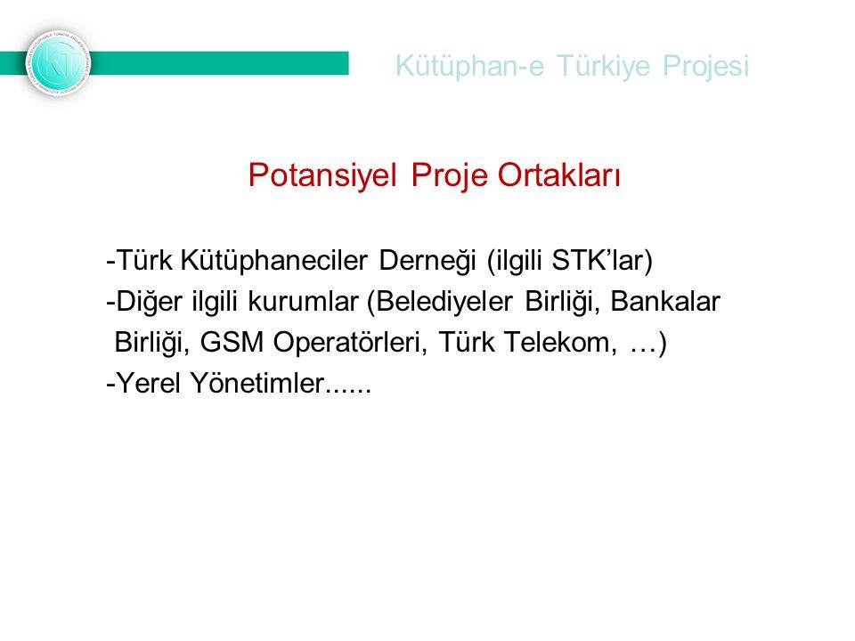 Kütüphan-e Türkiye Projesi Potansiyel Proje Ortakları -Türk Kütüphaneciler Derneği (ilgili STK'lar) -Diğer ilgili kurumlar (Belediyeler Birliği, Banka