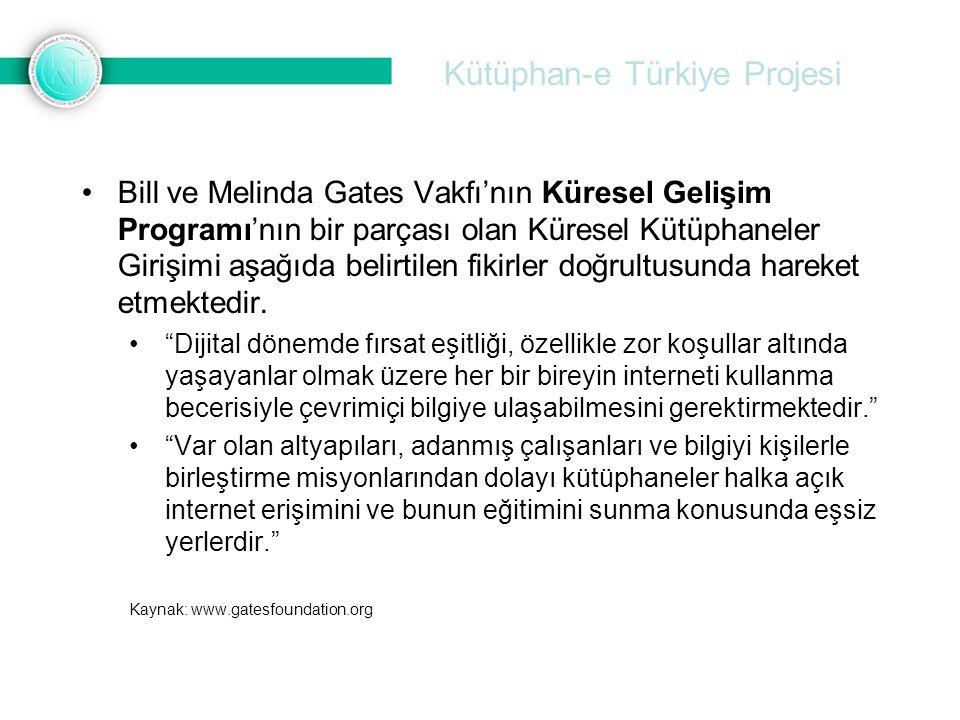 Kütüphan-e Türkiye Projesi •Bill ve Melinda Gates Vakfı'nın Küresel Gelişim Programı'nın bir parçası olan Küresel Kütüphaneler Girişimi aşağıda belirt