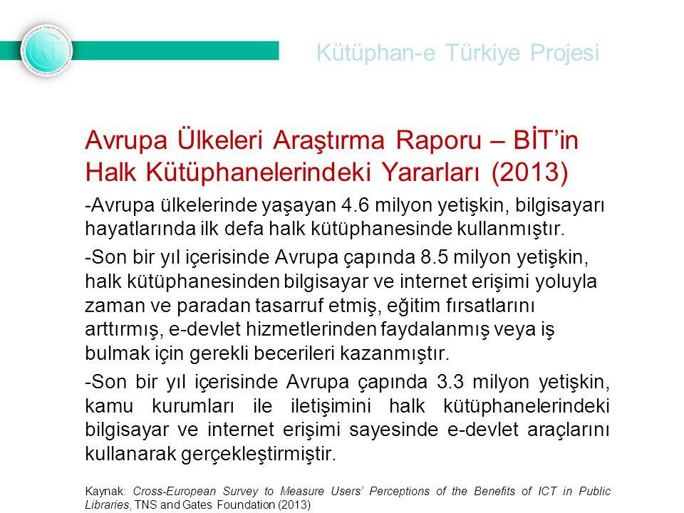 Kütüphan-e Türkiye Projesi Avrupa Ülkeleri Araştırma Raporu – BİT'in Halk Kütüphanelerindeki Yararları (2013) -Avrupa ülkelerinde yaşayan 4.6 milyon y