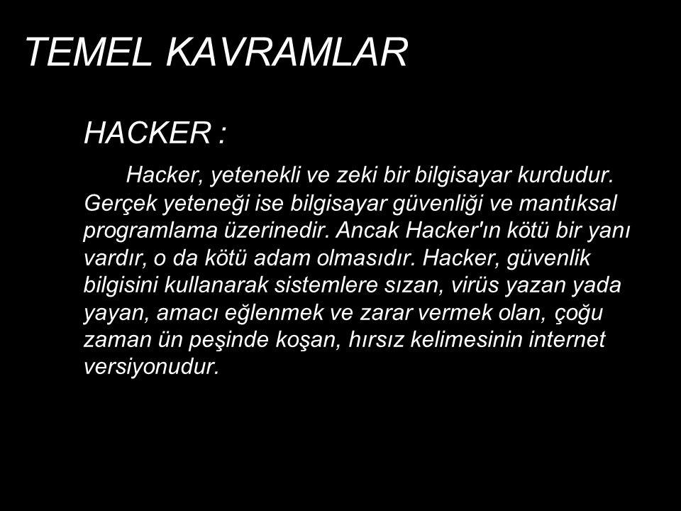 TEMEL KAVRAMLAR  CRACKER : Daha çok programlama bilgisi gelişmiş kişilerden oluşurlar.