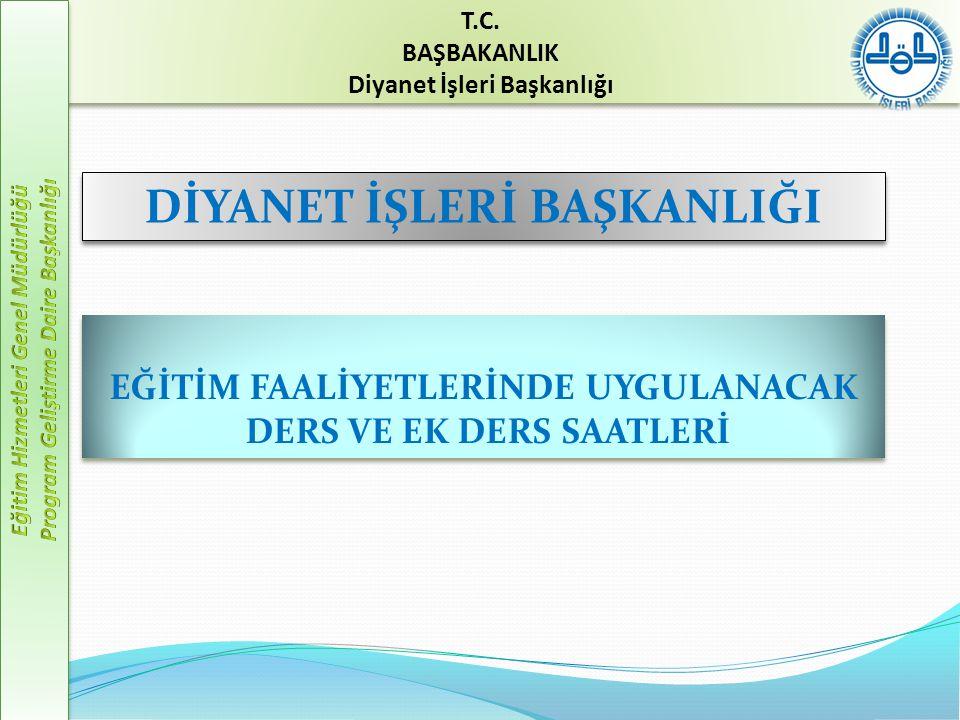  Personele yönelik eğitimler (hizmet içi eğitim)  Vatandaşa yönelik eğitimler (yaygın din eğitimi) T.C.
