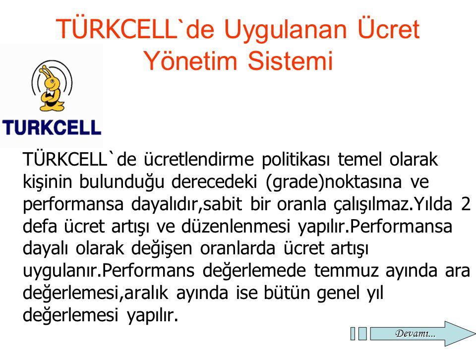 32 TÜRKCELL `de Uygulanan Ücret Yönetim Sistemi TÜRKCELL`de ücretlendirme politikası temel olarak kişinin bulunduğu derecedeki (grade)noktasına ve per