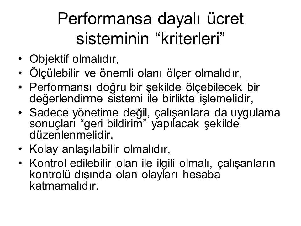 """Performansa dayalı ücret sisteminin """"kriterleri"""" •Objektif olmalıdır, •Ölçülebilir ve önemli olanı ölçer olmalıdır, •Performansı doğru bir şekilde ölç"""
