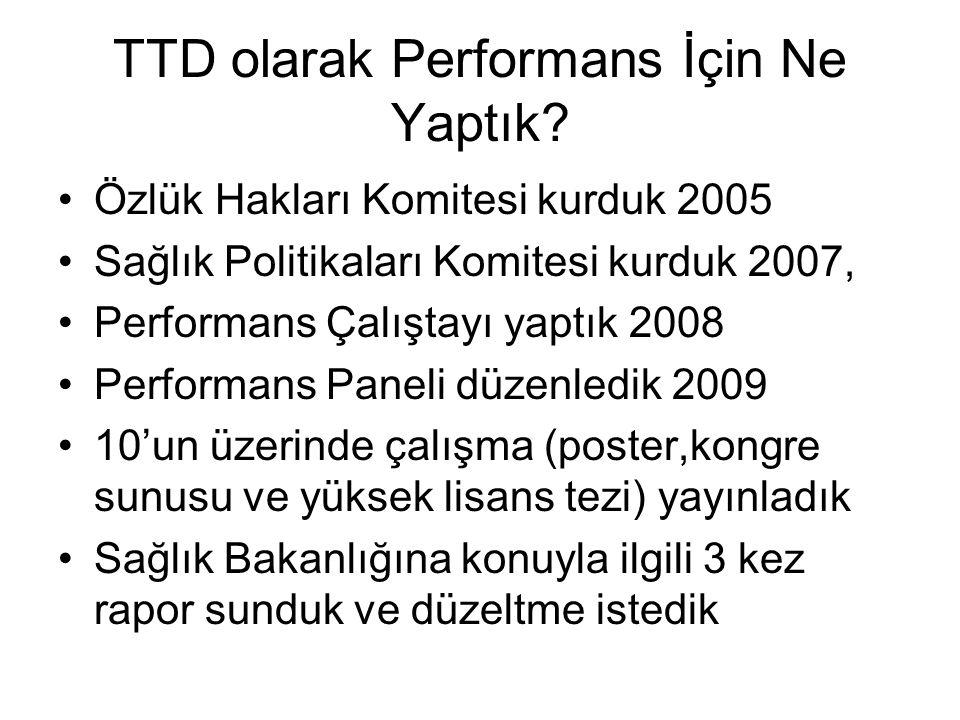 TTD olarak Performans İçin Ne Yaptık? •Özlük Hakları Komitesi kurduk 2005 •Sağlık Politikaları Komitesi kurduk 2007, •Performans Çalıştayı yaptık 2008