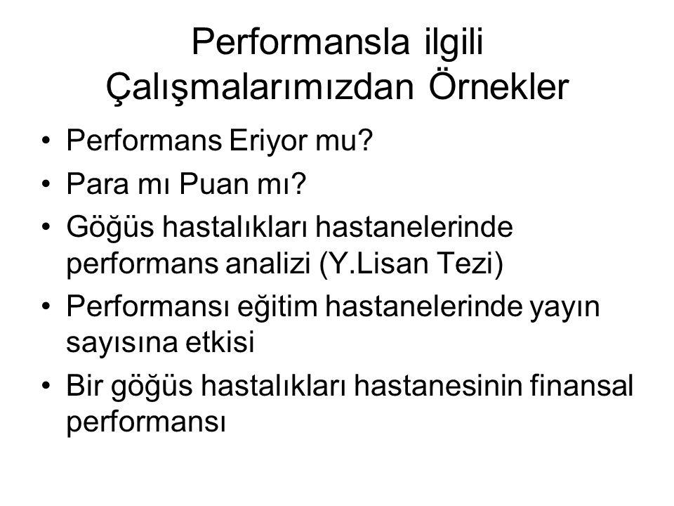 Performansla ilgili Çalışmalarımızdan Örnekler •Performans Eriyor mu? •Para mı Puan mı? •Göğüs hastalıkları hastanelerinde performans analizi (Y.Lisan