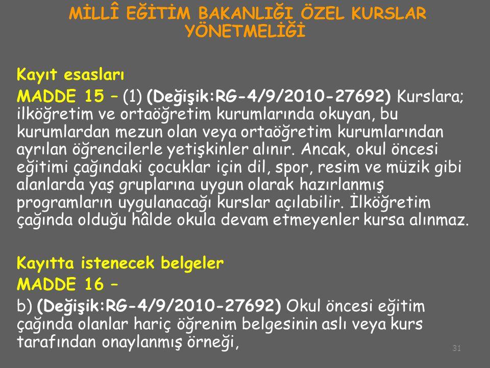 31 MİLLÎ EĞİTİM BAKANLIĞI ÖZEL KURSLAR YÖNETMELİĞİ Kayıt esasları MADDE 15 – (1) (Değişik:RG-4/9/2010-27692) Kurslara; ilköğretim ve ortaöğretim kurum