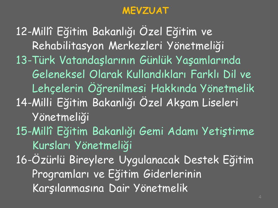 4 MEVZUAT 12-Millî Eğitim Bakanlığı Özel Eğitim ve Rehabilitasyon Merkezleri Yönetmeliği 13-Türk Vatandaşlarının Günlük Yaşamlarında Geleneksel Olarak