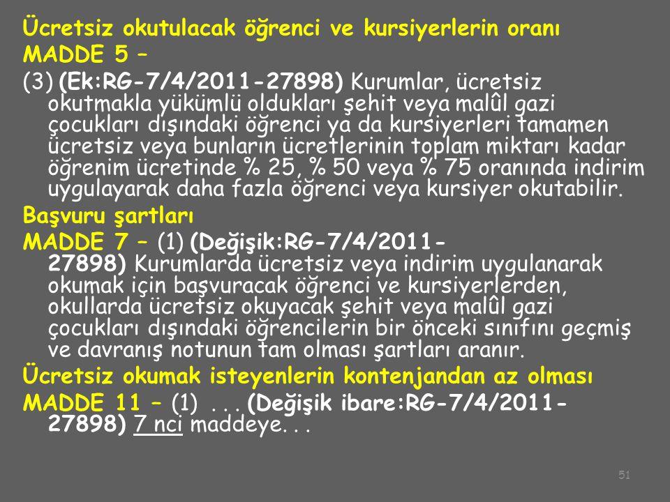 51 Ücretsiz okutulacak öğrenci ve kursiyerlerin oranı MADDE 5 – (3) (Ek:RG-7/4/2011-27898) Kurumlar, ücretsiz okutmakla yükümlü oldukları şehit veya m
