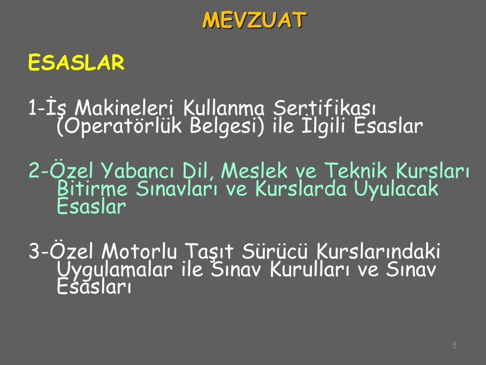 8 MEVZUAT ESASLAR 1-İş Makineleri Kullanma Sertifikası (Operatörlük Belgesi) ile İlgili Esaslar 2-Özel Yabancı Dil, Meslek ve Teknik Kursları Bitirme