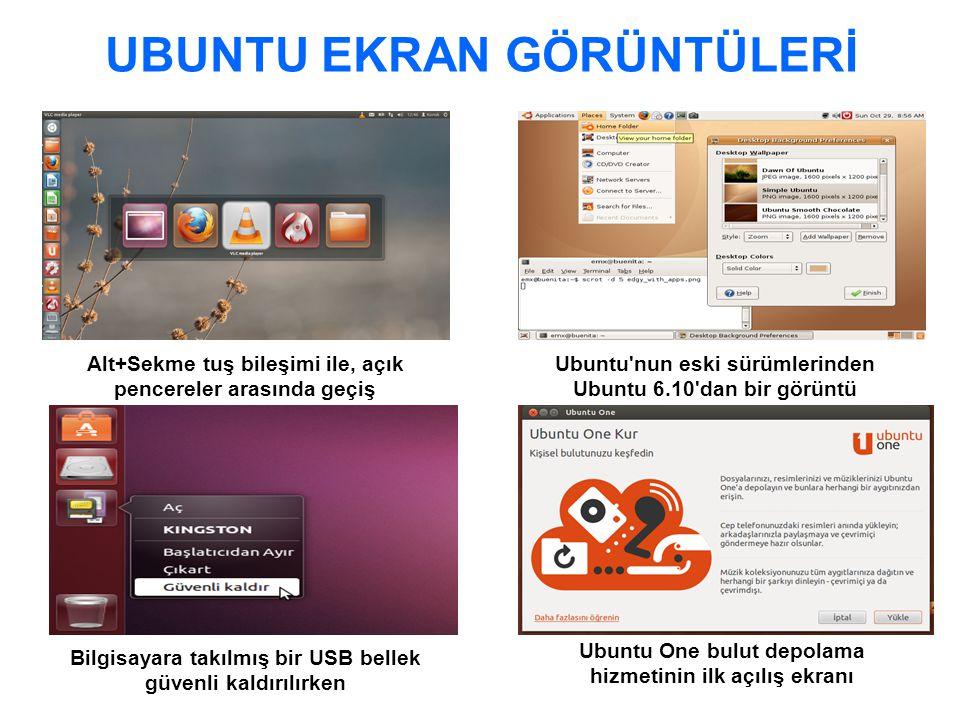 UBUNTU EKRAN GÖRÜNTÜLERİ Ubuntu nun eski sürümlerinden Ubuntu 6.10 dan bir görüntü Bilgisayara takılmış bir USB bellek güvenli kaldırılırken Alt+Sekme tuş bileşimi ile, açık pencereler arasında geçiş Ubuntu One bulut depolama hizmetinin ilk açılış ekranı