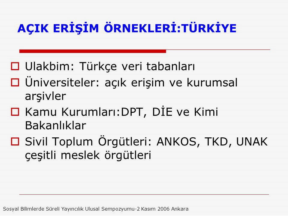 AÇIK ERİŞİM ÖRNEKLERİ:TÜRKİYE  Ulakbim: Türkçe veri tabanları  Üniversiteler: açık erişim ve kurumsal arşivler  Kamu Kurumları:DPT, DİE ve Kimi Bakanlıklar  Sivil Toplum Örgütleri: ANKOS, TKD, UNAK çeşitli meslek örgütleri Sosyal Bilimlerde Süreli Yayıncılık Ulusal Sempozyumu-2 Kasım 2006 Ankara