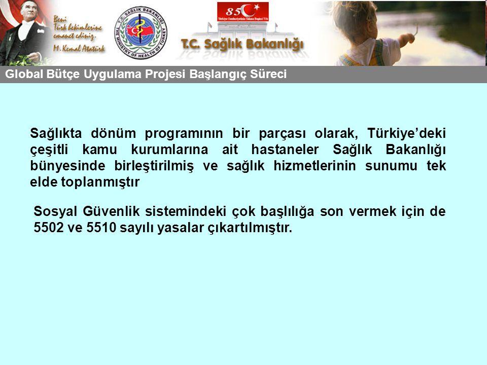 Sağlıkta dönüm programının bir parçası olarak, Türkiye'deki çeşitli kamu kurumlarına ait hastaneler Sağlık Bakanlığı bünyesinde birleştirilmiş ve sağl