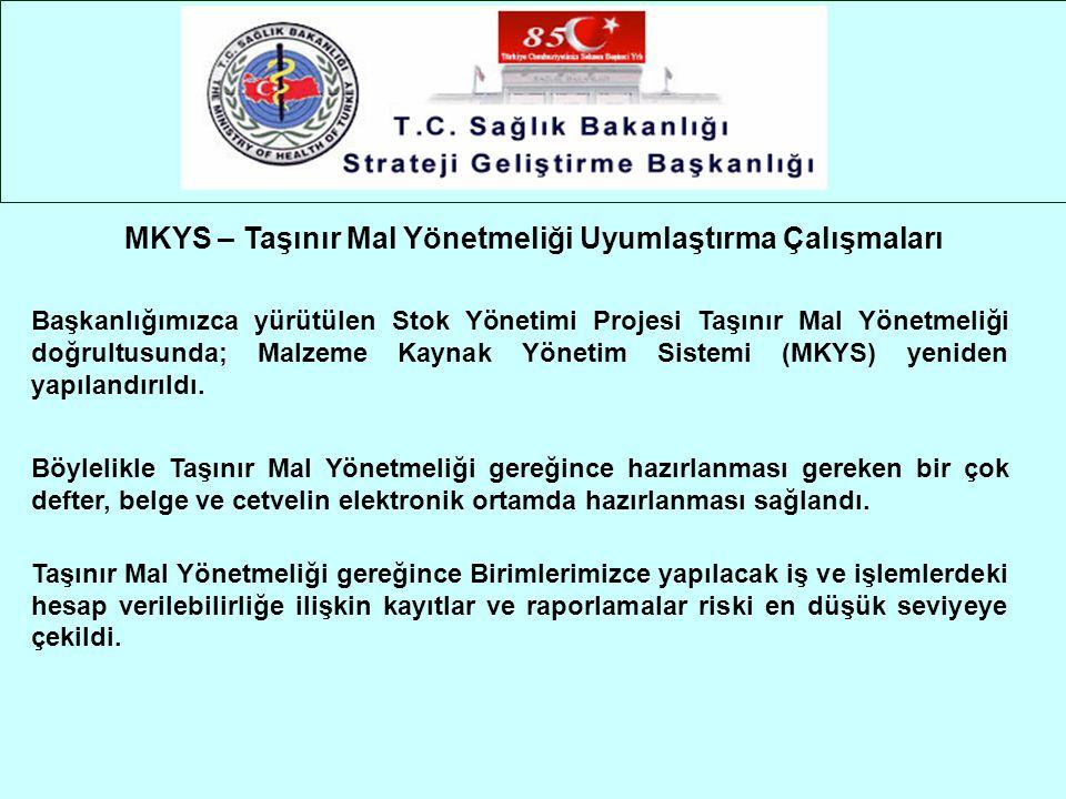 Başkanlığımızca yürütülen Stok Yönetimi Projesi Taşınır Mal Yönetmeliği doğrultusunda; Malzeme Kaynak Yönetim Sistemi (MKYS) yeniden yapılandırıldı. B