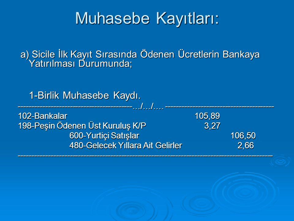 Muhasebe Kayıtları: a) Sicile İlk Kayıt Sırasında Ödenen Ücretlerin Bankaya Yatırılması Durumunda; a) Sicile İlk Kayıt Sırasında Ödenen Ücretlerin Ban
