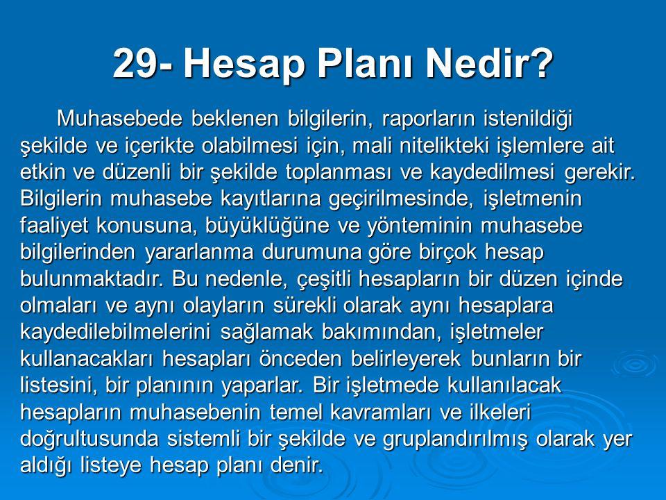 29- Hesap Planı Nedir? Muhasebede beklenen bilgilerin, raporların istenildiği şekilde ve içerikte olabilmesi için, mali nitelikteki işlemlere ait etki