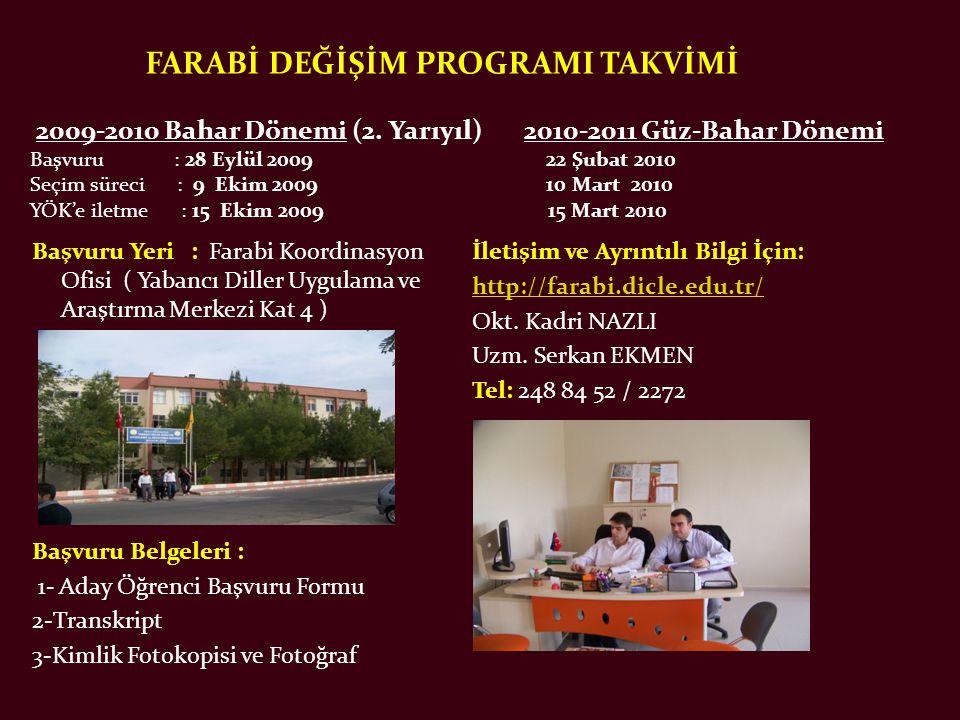 FARABİ DEĞİŞİM PROGRAMI TAKVİMİ 2009-2010 Bahar Dönemi (2.