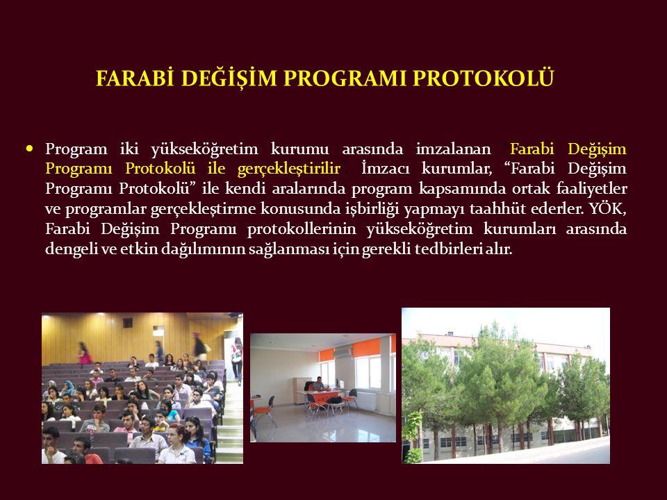 FARABİ DEĞİŞİM PROGRAMI PROTOKOLÜ  Program iki yükseköğretim kurumu arasında imzalanan Farabi Değişim Programı Protokolü ile gerçekleştirilir .