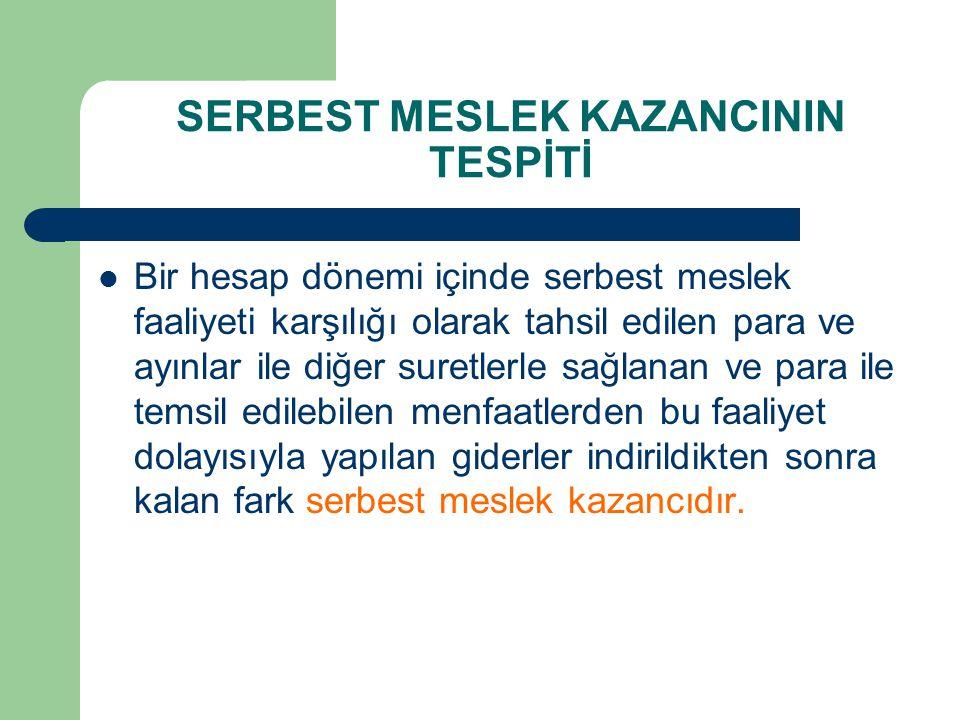 SERBEST MESLEK KAZANCININ TESPİTİ  Bir hesap dönemi içinde serbest meslek faaliyeti karşılığı olarak tahsil edilen para ve ayınlar ile diğer suretler