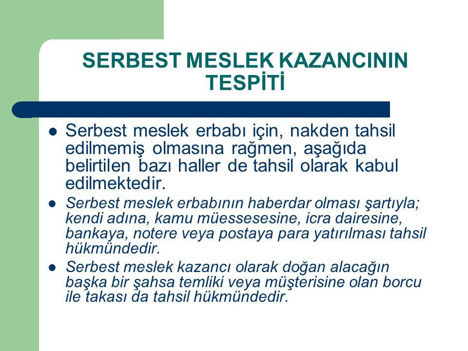 SERBEST MESLEK KAZANCININ TESPİTİ  Serbest meslek erbabı için, nakden tahsil edilmemiş olmasına rağmen, aşağıda belirtilen bazı haller de tahsil olar