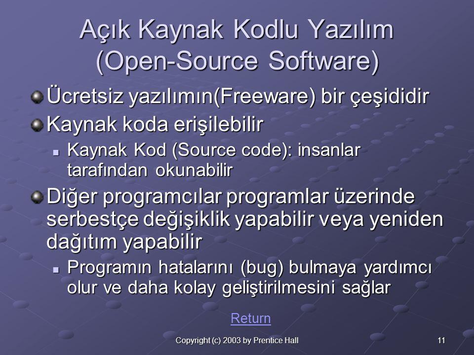 11Copyright (c) 2003 by Prentice Hall Açık Kaynak Kodlu Yazılım (Open-Source Software) Ücretsiz yazılımın(Freeware) bir çeşididir Kaynak koda erişilebilir  Kaynak Kod (Source code): insanlar tarafından okunabilir Diğer programcılar programlar üzerinde serbestçe değişiklik yapabilir veya yeniden dağıtım yapabilir  Programın hatalarını (bug) bulmaya yardımcı olur ve daha kolay geliştirilmesini sağlar Return